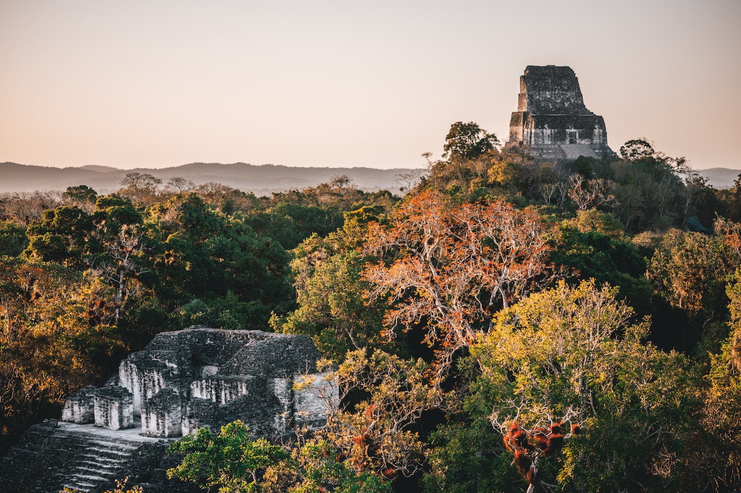 sunset over Tikal Park
