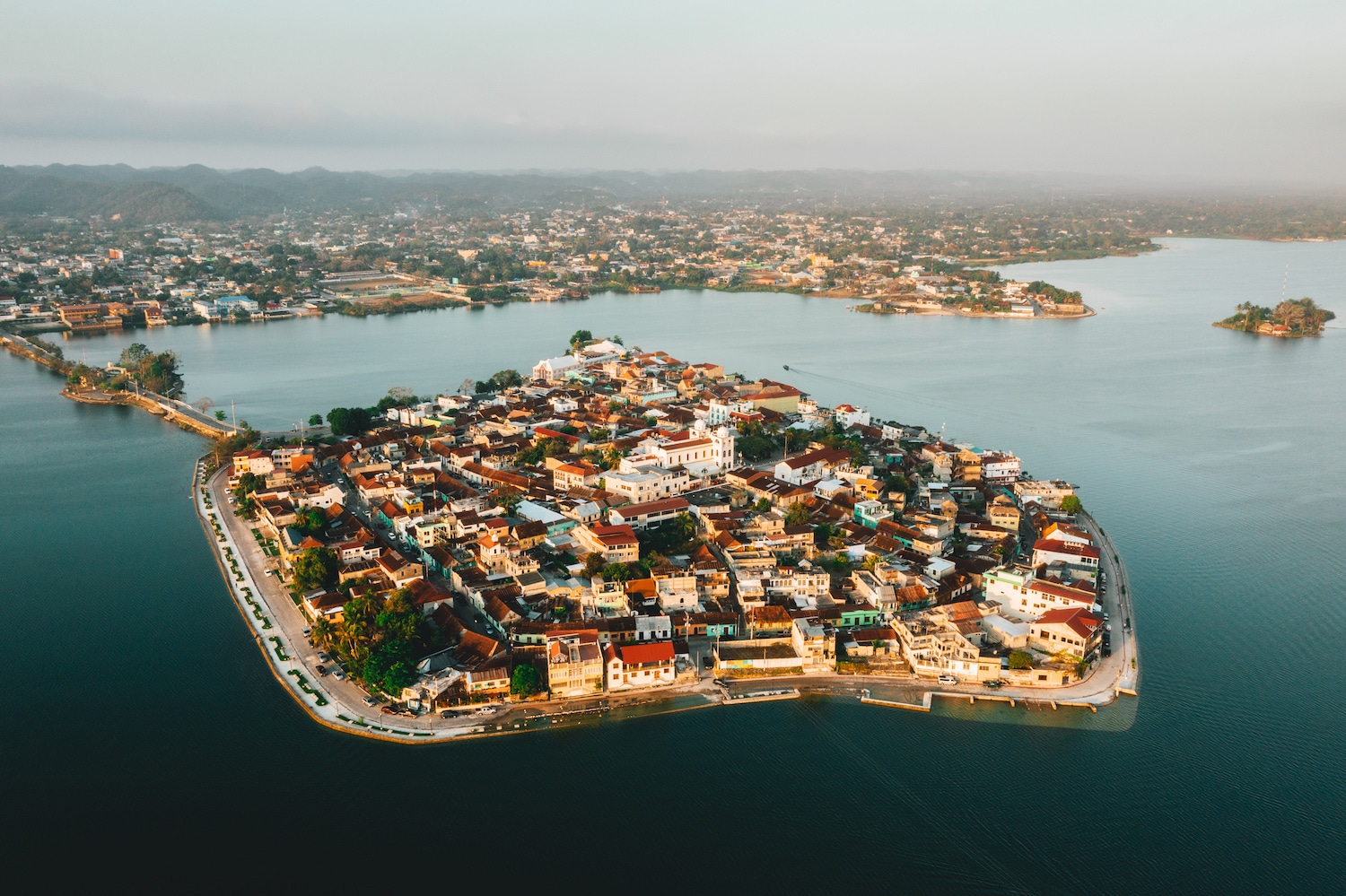 A drone view of the city of Guatemala Flores
